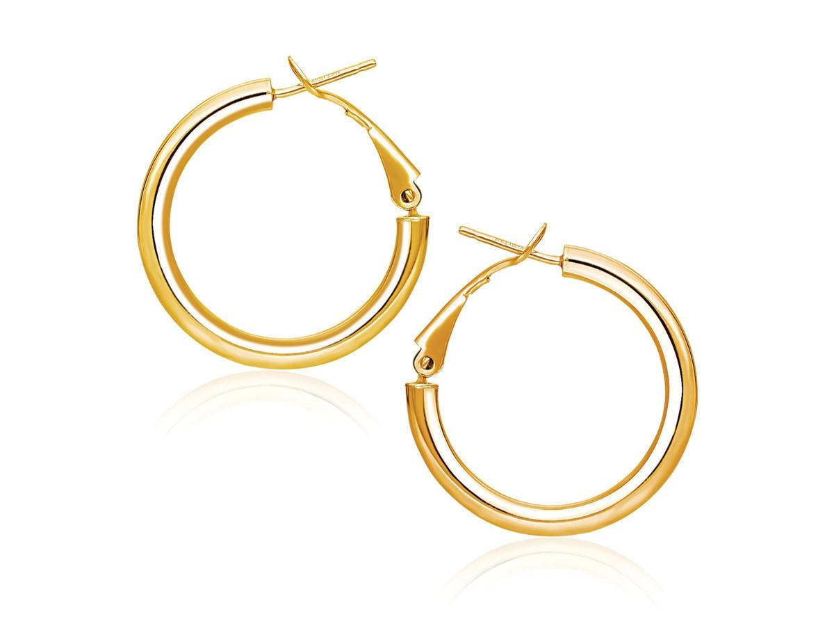 Omega Back High Polish Hoop Earrings In 14k Yellow Gold 0 78 Inch Diameter