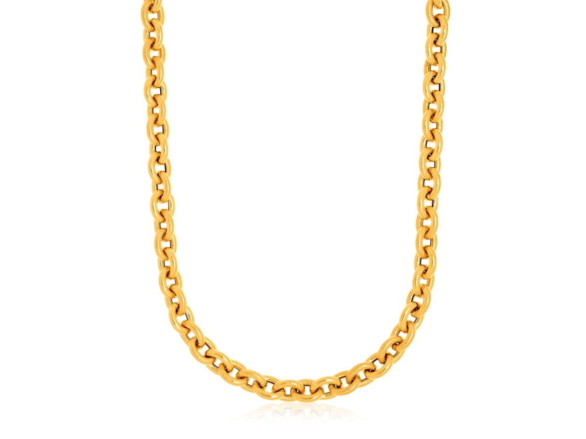 Textured Cable Chain Necklace in 14k Yellow Gold - Richard ...