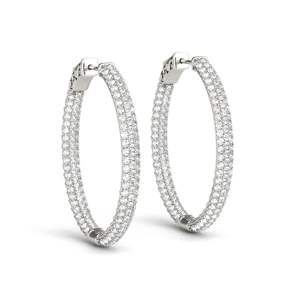 Double Sided Three Row Diamond Hoop Earrings In 14k White