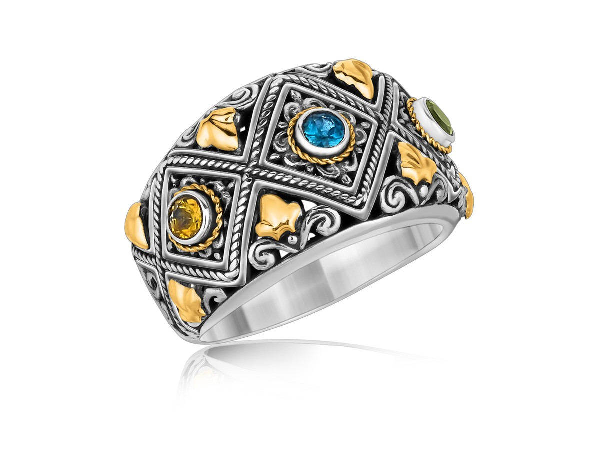 Diamond Pattern Multi Stone Accented Ring In 18k Yellow