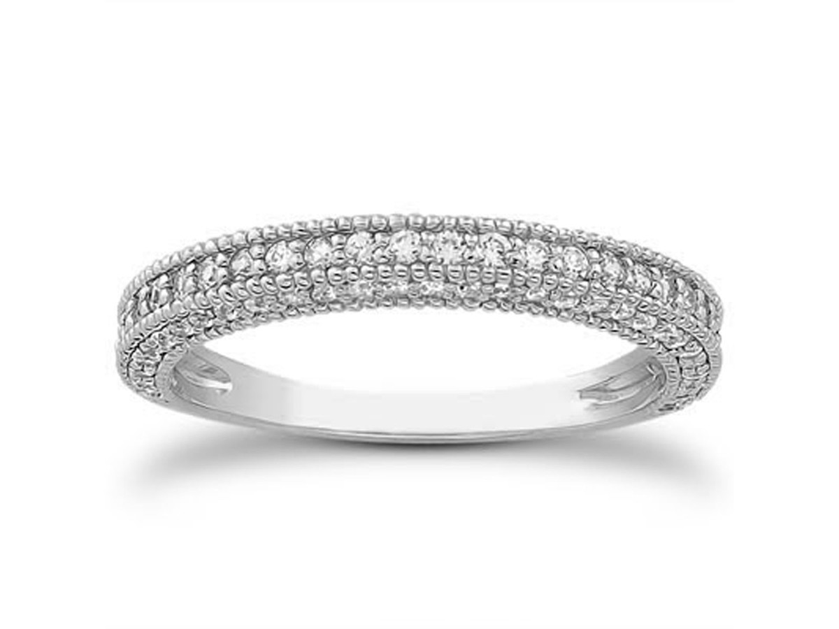 Fancy Pave Diamond Milgrain Wedding Ring Band in 14K White Gold wedding ring and band