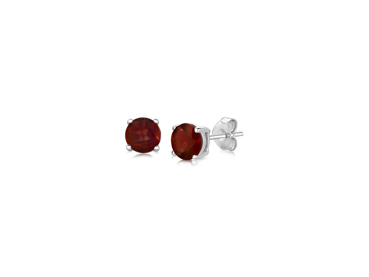 garnet stud earrings in sterling silver 5mm