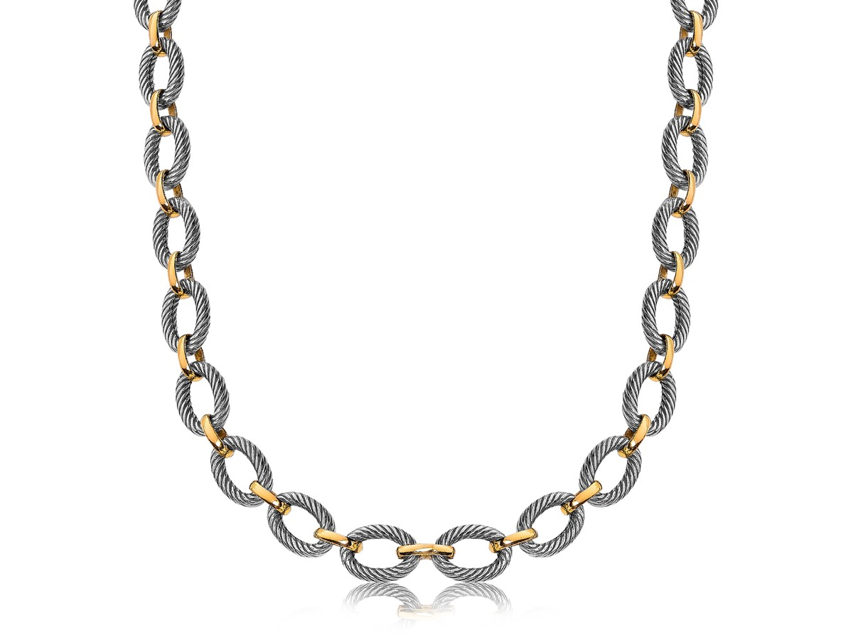 Alternate Oval Cable And Polished Chain Link Necklace In 18K Yellow Gold And Sterling Silver