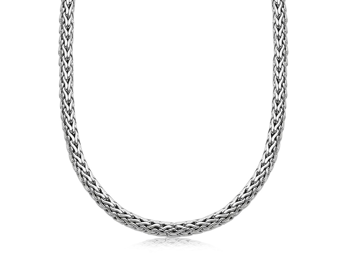 Wheat Chain Men S Necklace In Oxidized Sterling Silver