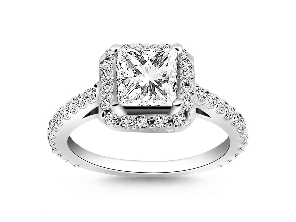 Princess Diamond Halo Cathedral Engagement Ring Mounting