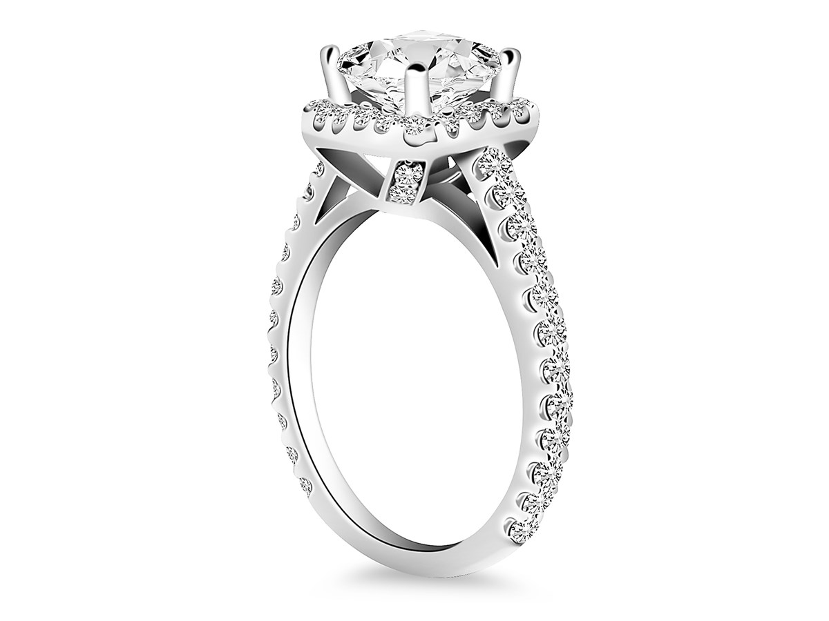 Princess Diamond Halo Cathedral Engagement Ring Mounting