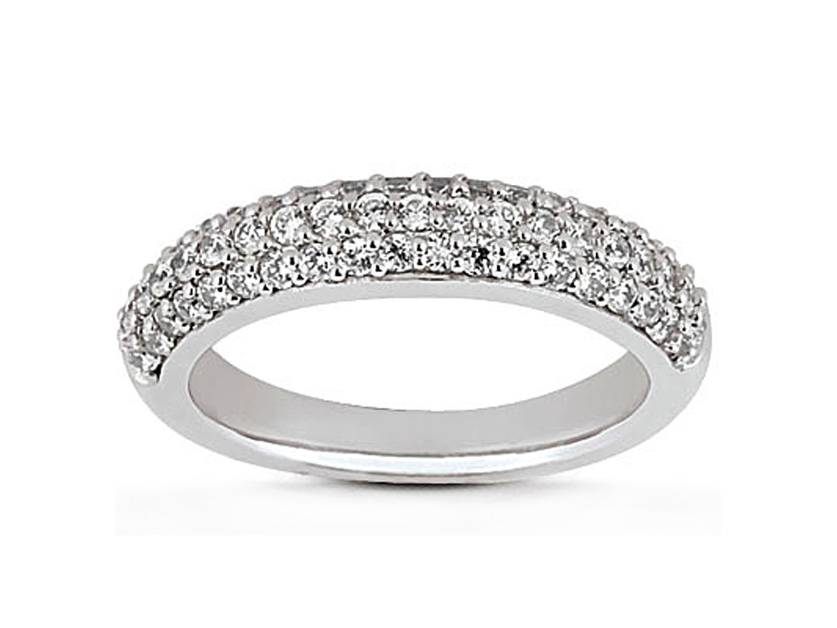 Triple Row Micro Pave Diamond Wedding Ring Band In 14K White Gold