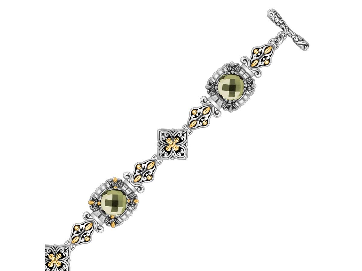 Fancy Round Green Amethyst Baroque Bracelet In 18k Yellow