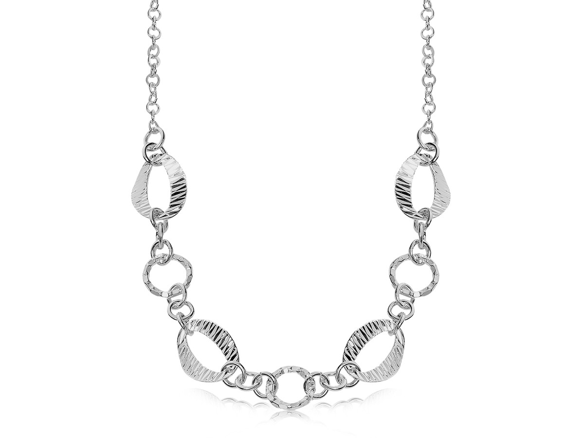 Diamond Cut Oval And Round Motif Chain Necklace In Rhodium