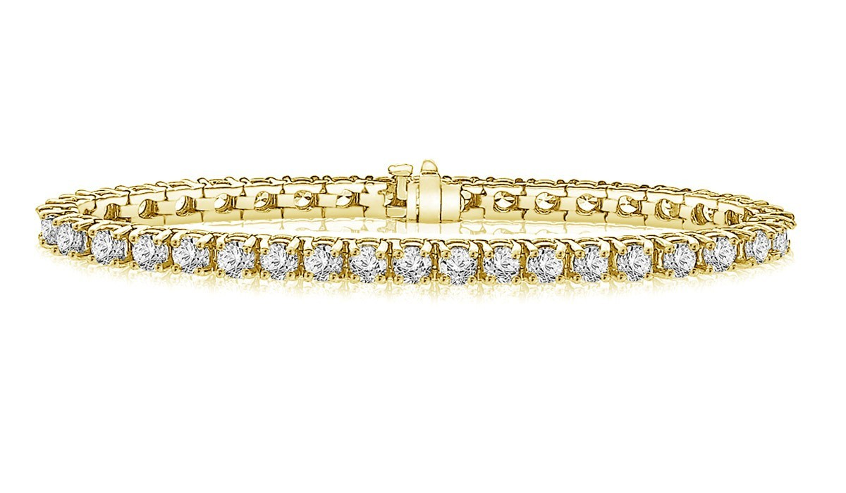 Classic Diamond Tennis Bracelet in 14K Yellow Gold (10 ct ...