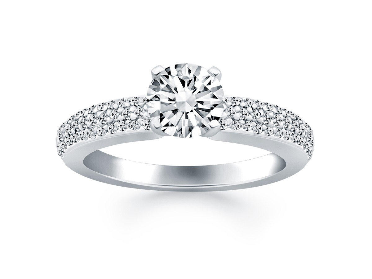 Triple Row Pave Diamond Engagement Ring In 14k White Gold
