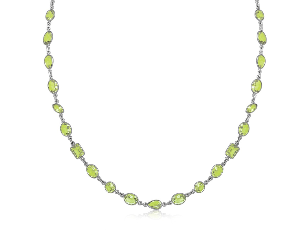 Green Amethyst Chain Long Necklace In Black Rhodium Plated