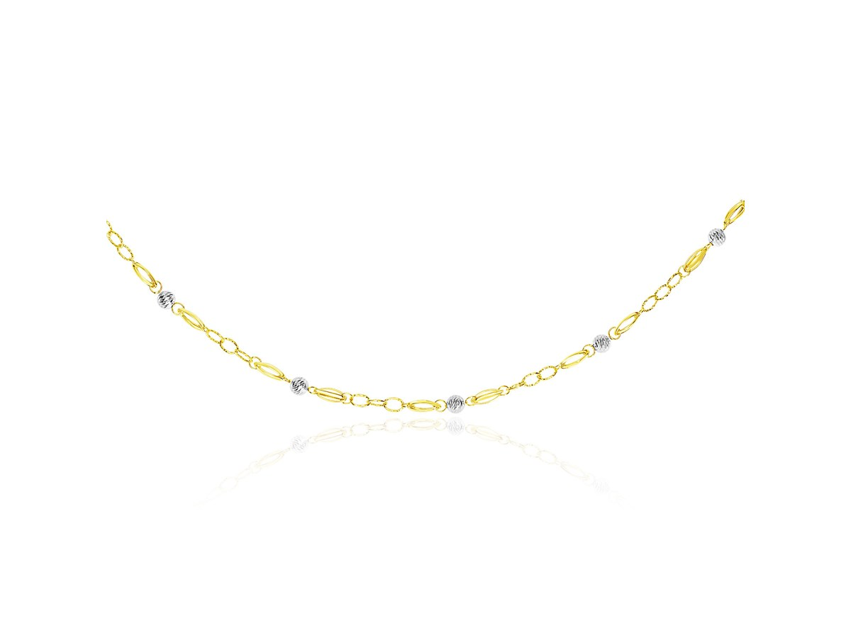 Multi Textured Chain And Disc Link Long Necklace In 14k