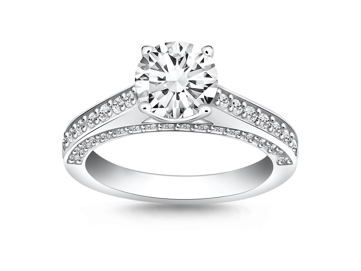 pave diamond cathedral engagement ring mounting in 14k. Black Bedroom Furniture Sets. Home Design Ideas