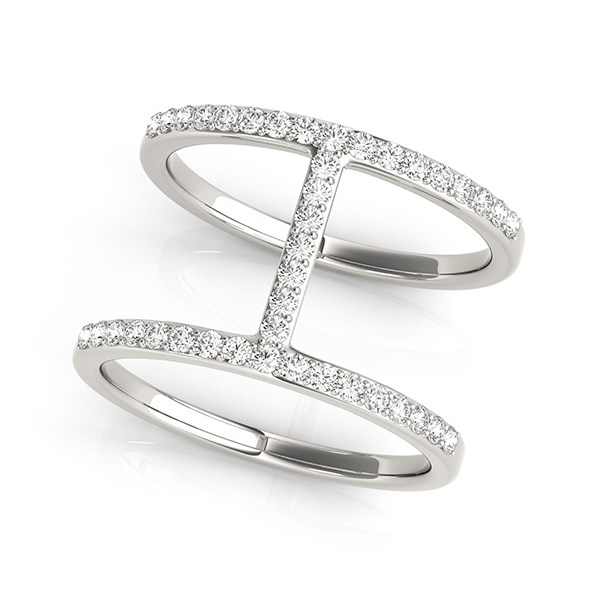 Thin Dual Band Diamond Ring In 14k White Gold 3 8 Cttw