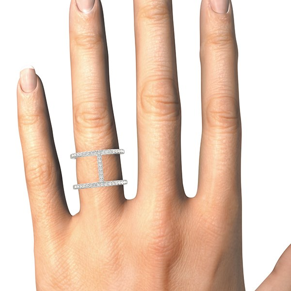 Thin Dual Band Diamond Ring In 14k White Gold 3 8 Ct Tw