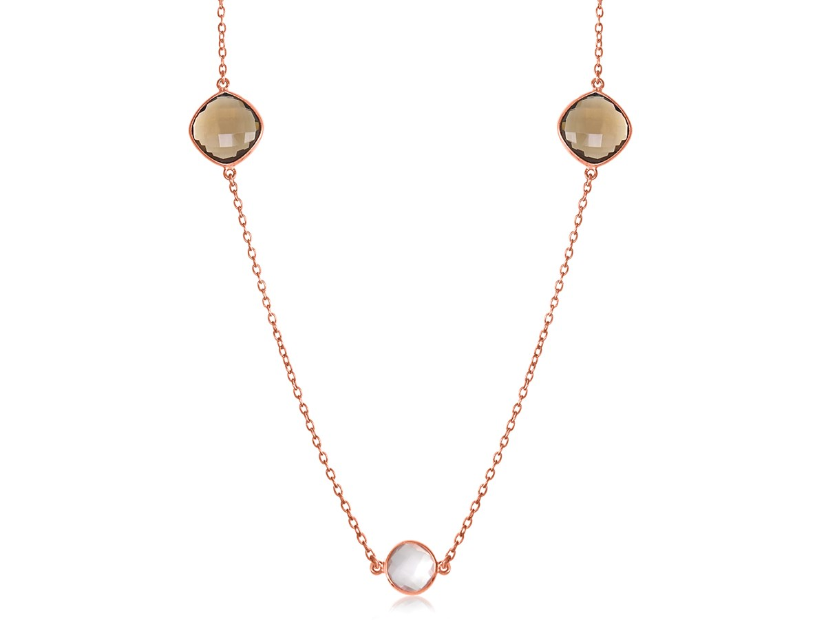 Round And Cushion Station Necklace With Smokey Quartz And