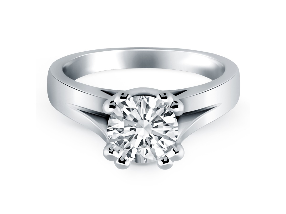 prong split shank cathedral solitaire engagement