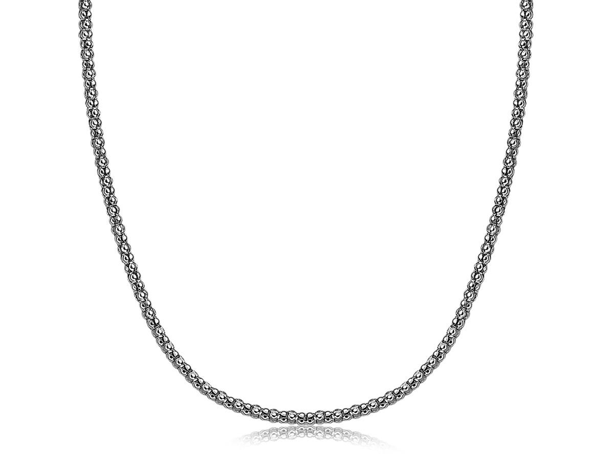 Thin Popcorn Style Pendant Chain In Rhodium Plated